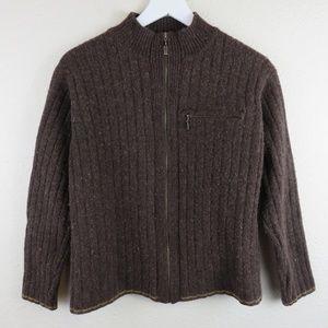 Patagonia Brown Lambswool Zip Up Sweater